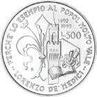 """A legnagyobb Medici, a """"Tündöklő"""", 500 líra, ezüst, Olaszország, 1992"""
