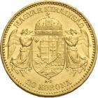 """""""Ferenc Jóska"""" aranya, 20 korona, arany, Osztrák–Magyar Monarchia, 1892-1915"""