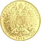 Szépség és biztonság, 20 korona, arany, Ausztria, 1915