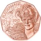 Johann Strauss zenéje, 5 EUR, Ausztria, 2015