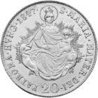 Az első magyar feliratú pénz elődje, 20 krajcár, ezüst, Magyar Királyság, 1837-1848