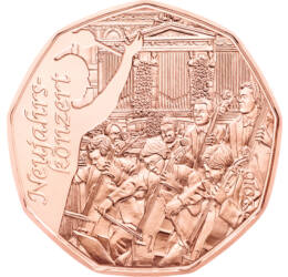 // 5 euró, Ausztria, 2016 // - A népszerű szögletes osztrák 5 eurók 2016-ban megjelent darabja a világhíres bécsi újévi koncertet köszönti. A Bécsi Filharmonikus Zenekar előadását minden január 1-én milliók nézik, hallgatják a televízión keresztül.