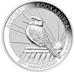 30 éves a Kookaburra, 10 dollár, ezüst, Ausztrália, 2020