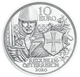 A templomos lovagok, 10 euró, ezüst, Ausztria, 2020, díszcsomagolt