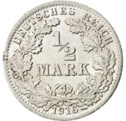 // 1/2 márka, 900-as ezüst, Német Birodalom, 1905-1919 // - Az utolsó birodalmi ezüst érmét 1905-től bocsátották ki, de a háború végén az infláció miatt a márka elvesztette vásárlóértékét. Ezért az utolsó három évben az érmét a verde ugyan továbbra is ezü