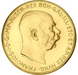 // 100 korona, 900-as arany, Osztrák-Magyar Monarchia, 1915 // - Az Osztrák-Magyar Monarchia arany koronái már nagyapáinknak is azt jelentette, amit ma is, a biztos menedéket. Ez a 100 korona utánveret érme méretével és súlyával is kiemelkedik az aranykor