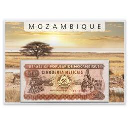 // 50, 100, 500, 1000, 5000 metical, Mozambik, 1983-1989 // - Mozambik őslakói a busmanok voltak. 1498-ban Vasco da Gama fedezte fel az országot. Az 1975-ben kivívott függetlenségük után ez az első, saját pénznemükből megjelent forgalmi sor. Képi világába
