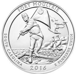 // 25 cent, 999-es ezüst, USA, 2016 // - 1776-ban brit hajók támadták az amerikai Charlestont. Az erődöt Moultrie ezredes védte 400 katonával. A védőket az érmén látható új zászló lelkesítette, melyet Szabadság vagy Moultrie zászlónak is neveznek. A tenyé