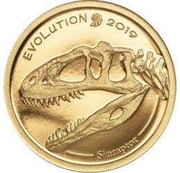 // 1000 tugrik, 999,9-es arany, Mongólia, 2019 // - Csaknem 32 éve fedeztek fel Kínában egy szinte teljes csontvázat egy Sinraptor dinoszauruszról, mely a késői jura időszakban élt. Az állat 3 méter magas, 7,5 méter hosszú és 1 tonna lehetett. Mongólia ki