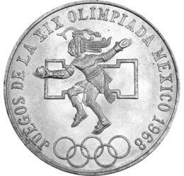 // 25 peso, 720-as ezüst, Mexikó, 1968 // - Az 1968-as olimpiát a 2250 m magasan fekvő Mexikóváros rendezte. Ennek tudják be, hogy atlétikában a legtöbb, 48 világcsúcs született. Legelőször itt gyújtotta meg nő az olimpiai lángot. Az érmén ősi maja labdaj