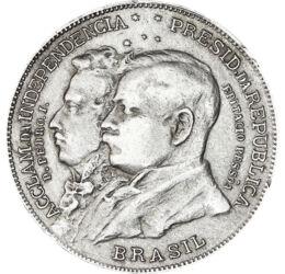 // 2000 reis, 500-as ezüst, Brazília, 1922 // - Az 1494 óta Portugál fennhatóság alatt álló Brazília függetlenségét 1822-ben I. Péter brazil császár kiáltotta ki. A 100. évfordulóra készült érmén a császár, és Epitácio Pessoa elnök portréja látható.