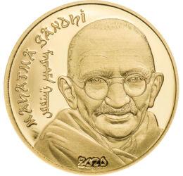 // 1000 tugrik, 999,9-es arany, Mongólia, 2020 // - A 20. század egyik leghíresebb alakja, India legnagyobb politikusa és spirituális vezetője volt Mahátma Ghandi. Erőszakmentes, de következetes politikájával kivívta hazája függetlenségét, majd többször m