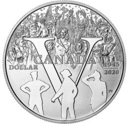 // 1 dollár, 999,9-es ezüst, Kanada, 2020 // - A béke 75 éves évfordulóját, a II. világháború végét ünnepli ez a kanadai kibocsátású ezüst emlékpénz. Az érmén az ünneplő tömeg és a győzelem jele, a V jelenik meg, de a kibocsátással az áldozatok emléke elő