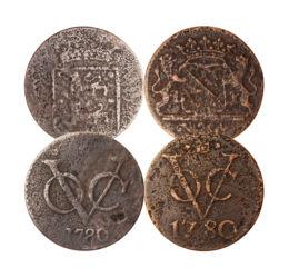 // 4x1 duit, Holland Kelet-India, 1726-1794 // - A Holland Kelet-indiai Társaság, röviden VOC, volt a világ első igazi multinacionális vállalata, amely részvényeket adott ki pénzügyei finanszírozására és ezzel létrehozta a modern tőzsdét. Létezésének 200
