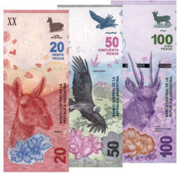 // 20, 50, 100 peso, Argentína, 2017-2018 // - A föld egyik legnagyobb országa, a tangó hazája, Argentína. Neve a latin ezüst - argentum - szóból származik. Argentínában 1990-ig az austral volt a fizetőeszköz, ezt követően váltotta fel a peso.