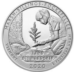 // 25 cent, 999-es ezüst, USA, 2020 // - A Marsh-Billings-Rockefeller Nemzeti Történelmi park jelenik meg ezen az 5 unciás, nagysúlyú ezüstpénzen. Ez a nemzeti park volt az első ami az Egyesült Államokban megkapta a fenntartható erdőgazdálkodás tanúsítván