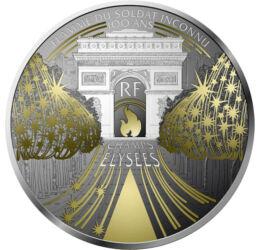 // 10 euró, 900-as ezüst, Franciaország, 2020 // - A világ egyik leghíresebb sugárútja a párizsi Champs-Elysées, ahol a világ második legdrágább üzletei találhatók a New York-i Fifth Avenue után. A Párizs kincseit bemutató érmesorozat legújabb kibocsátása