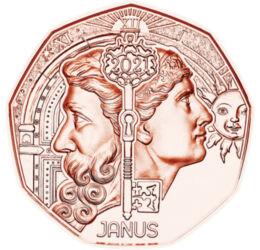 // 5 euró, Ausztria, 2021 // - Évek óta tartó hagyomány az osztrák pénzverőnél, hogy az új évet különleges újévi 5 euró kibocsátásával ünnepli. Hozzon boldogságot minden gyűjtőnek ez az újévi érme mely a római mitológia legjelentősebb istenét, Ianust ábrá