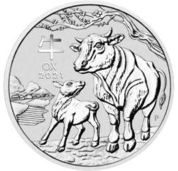 Bivaly éve, 1 dollár, 1 uncia színezüst, Ausztrália, 2021