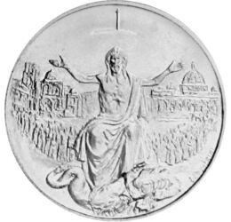 // 500 líra, 835-ös ezüst, Vatikán, 1983-1984 // - A megváltás rendkívüli szent évének alkalmából bocsátotta ki a Vatikán ezt az ezüst érmét II. János Pál pápasága idején. Az érme előterének fő motívuma Jézus ahogy a sárkányt tapossa.
