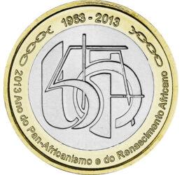 // 250 escudo, Zöld-foki Köztársaság, 2013 // - Az Afrikai Unió 1963-ban alakult azzal a céllal, hogy az önállóságukat visszakapott volt gyarmatok gazdasági együttműködését megteremtsék, valamint, hogy önállóságukat és területi integritásukat megőrizzék.