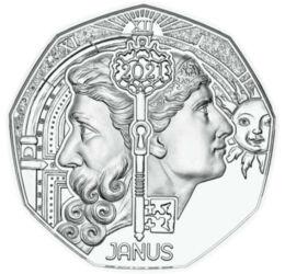 // 5 euró, 925-ös ezüst, Ausztria, 2021 // - Évek óta tartó hagyomány az osztrák pénzverőnél, hogy az új évet különleges újévi 5 euró kibocsátásával ünnepli. Hozzon boldogságot minden gyűjtőnek ez az újévi érme mely a római mitológia legjelentősebb istené