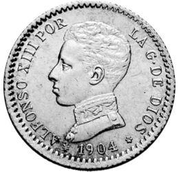 // 50 centimo, 835-ös ezüst, Spanyolország, 1904 // - XIII. Alfonz mielőtt megszületett volna, már a spanyol trón birtokosa volt. Apja, XII. Alfonz az ő születése előtt tüdőbajban meghalt. Anyja vele három hónapos terhesen vette át a régensi feladatokat f