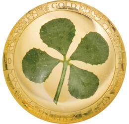 // 1 dollár, 999,9-es arany, Palau, 2021 // - A négylevelű lóherét a kelta kultúrában a rossz szellemek ellen védő amulettként használták. Ez a hagyomány terjedt el aztán szerte a világban. Emellett az is tény, hogy 10000 háromlevelű lóhere között csupán