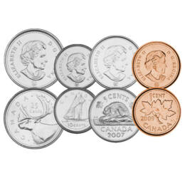 // 1, 5, 10, 25, 50 cent, 1, 2 dollár, Kanada, 2003-2019 // - Kanada forgalmi érméit az ország hét legfontosabb szimbóluma díszíti. Köztük a legismertebb a juharlevél, ami a címerük része és a zászlójukra is rákerült.