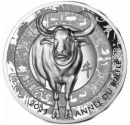 // 20 euró, 999-es ezüst, Franciaország, 2021 // - A párizsi verde is 1 uncia színezüst érmével köszönti a holdújévet.