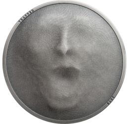 Emberi arc - Fémszövet, vagy szövet hatású veret?, 5 dollár, ezüst, Cook-szigetek, 2019