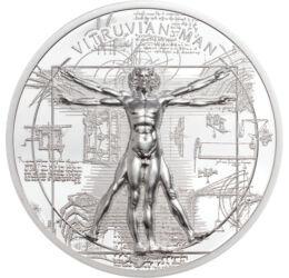 // 5 dollár, 999-es ezüst, Cook-szigetek, 2021 // - Leonardo da Vinci amellett, hogy az egyik legnagyobb reneszánsz művész volt, kiemelkedőt alkotott tudósként, mérnökként is. Művészete évszázadok távlatából is lenyűgöző, anatómiai ismereteinek és műszaki