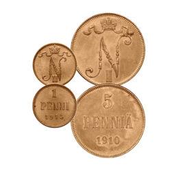 1, 5, 10, 25, 50 pennia, 1895-1917 Finnország