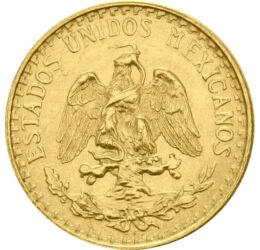 A Napisten parancsára, 2 peso, arany, Mexikó, 1919-1948