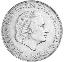 Egy királynő a magyarokért, 2 1/2 gulden, ezüst, Hollandia, 1959-1966