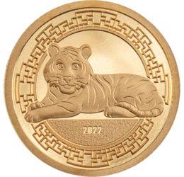 Tigris éve színaranyon, 1000 tugrik, arany, Mongólia, 2022