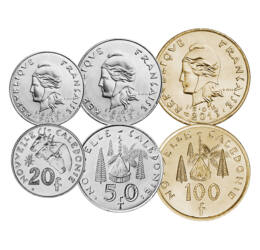 1, 2, 5, 10, 20, 50, 100 frank, , 0, 0, Új-Kaledónia, 1972-2013