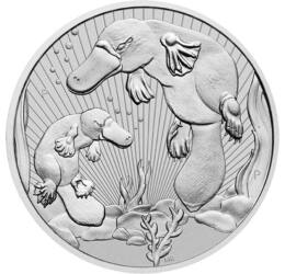 2 dollár, Kacsacsőrű emlős kicsinyével, Ag 9999, 62,2 g, Ausztrália, 2021
