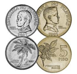 25, 50 sentim, 1, 2, 5 piso, , 0, 0, Fülöp-szigetek, 1991-1994