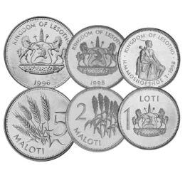 5, 10, 20, 50 lisente, 1, 2, 5 maloti, , 0, 0, Lesotho, 1996-2018