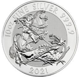 10 font, Sárkányölő Szent György, , színsúly, Ag 9999, 311 g, Nagy-Britannia, 2021
