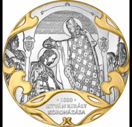 I. István király koronázása, ezüstözött, részaranyozott emlékérem