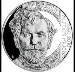 Alfons Mucha, 200 korona, 900-as ezüst, Csehország, 2010