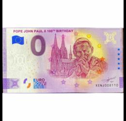 II. János Pál pápa, 0 euró szuvenír bankjegy, 2020