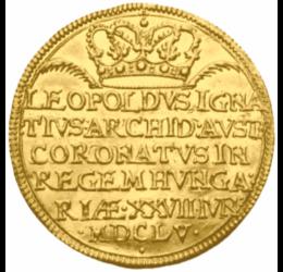 I. Lipót, koronázási arany érem, 1655, utáneret arannyal nemesítve