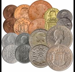 Brit forgalmi sor, 1 farthing, ½, 1, 3, 6 penny, 2x1, 2 shilling, ½ korona, 1953-1970