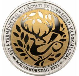 15000 forint, Vadászati Világkiállítás, 925-ös ezüst, aranyozott, Magyarország, 2021