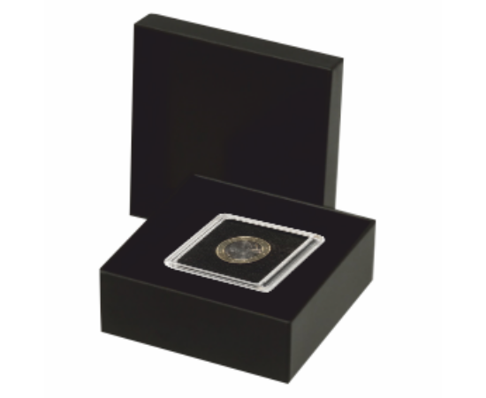 Fekete tárolódoboz szögletes (érméhez, ütésálló műanyagból)