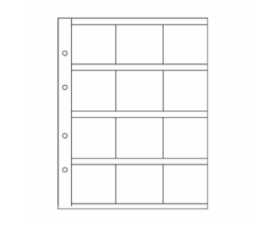 OPTIMA album lapok (12 érmekarton - 50x50 mm)