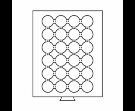 Érmetároló tálca (szekrényhez), 24 x Ø 34 mm – 10 DM, 100 peseta, 50 OES